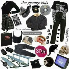 Discover recipes, home ideas, style inspiration and other ideas to try. Emo Outfits, Teen Fashion Outfits, Grunge Outfits, Grunge Fashion, Girl Outfits, Casual Outfits, Aesthetic Fashion, Aesthetic Clothes, Vintage Outfits