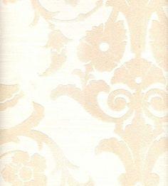 White & White Silk Medallion Damask velvet flocked wallpaper: VCC0850   Art Borders: Karim Rashid & Werner Berges Non-Woven Wallcovering Book