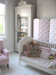 Love the grey wall color with the white and pink. I am shopping for colors for my granddaughter& room. Shabby Chic Bedrooms, Shabby Chic Decor, Grey Wall Color, Little Girl Rooms, Grey Walls, Girls Bedroom, Bedroom Wall, Armoire, Baby Room