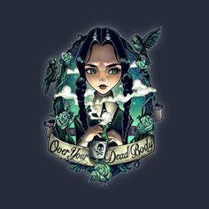 """Over Your Dead Body"" by Tim Shumate Wednesday Addams of The Addams Family Evvi Art, Desenhos Old School, Art Disney, Disney Pin Up, Arte Pop, Gothic Art, Tim Burton, Manga Comics, Amazing Art"