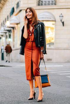 pencil skirt + leather jacket