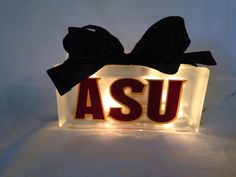ASU Arizona State University Glass block nightlight (other team options available see discription) by TheLittleSparkleShop on Etsy https://www.etsy.com/listing/216541009/asu-arizona-state-university-glass-block