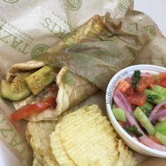 eating vegan @   Taziki's Mediterranean Cafe  I love greek food.