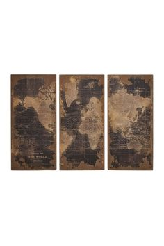 World Map Wall Panels in Wood.