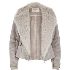 Grey faux suede fitted biker jacket - biker jackets - coats / jackets - women