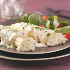 Crab-Stuffed Manicotti Recipe from Taste of Home -- shared by Sonya Polfliet of Anza, California