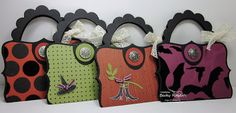 ~These little purses will make fun treat holders for your favorite little girl. Link to tutorial here: http://www.inkingidaho.blogspot.com/2009/03/top-note-purse-instructions.html  Inking Idaho: Top Note Halloween Purses