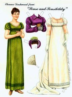 Free Eleanor Dashwood from Sense and Sensibility by Jane Austen Paper Doll With 1 Doll (Eleanor) and 3 Pages of Clothing