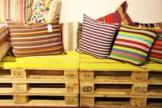Colorful Pallets #pallets, #sofa, #yellow @Federico Maria de Grisogono