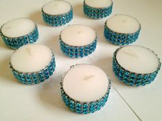 Large Tealight Turquoise Teal  Bling Candles Rhinestone Diamond Wedding or Party Tealights 50 Pc Lot on Etsy, $40.00