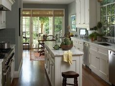 Inspiring Grey Kitchen Wall Colors Combine With White Painted Furnishing Kitchen Decor And White Kitchen Cabinet And White Wooden Island White Marble Top In Small Galley Kitchen Designs Warm Paint Co