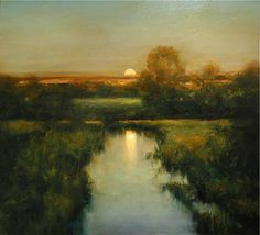 Golden Close of Day - Dennis Sheehan American, b. Oil on canvas, 28 x 30 in. Fantasy Paintings, Nature Paintings, Landscape Paintings, Oil Paintings, Nocturne, Art Folder, Sky Painting, Artwork Images, Abstract Landscape