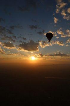 View of a hot air balloon at sunrise, Bagan, Myanmar. | photo by Lauren Ettinger fllitfloatflyaway.com
