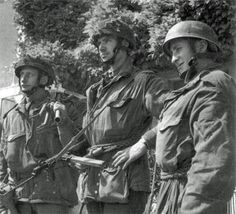 Private Frank Gardner, Captain Brian Priday and Lance-Corporal B. Lambley of D Company, 2nd Oxfordshire and Buckinghamshire Light Infantry. These men were part of the coup de main party designated to capture the river bridge over the Orne at Benouville (Pegasus Bridge), but their glider landed ten miles away from their objective close to the River Dives. It took several days for them to find their way through enemy territory to join up with their battalion.