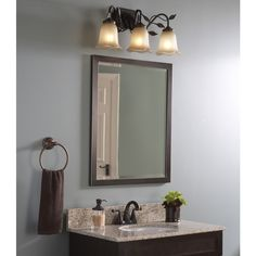 Bathroom Mirrors 24 X 30 allen + roth eastcott 42-in w x 30-in h auburn rectangular