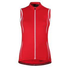 EMOTIVA: Sleeveless cycling jersey in red.
