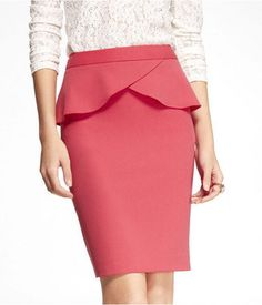 ExpressHigh Waist Studio Stretch Peplum Pencil Skirt  Pink Peplum Obsession  Styling Services www.thepinkfrock.com