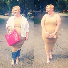 Www.flightofthefatgirl.com  Rebdolls bodycon dress from day to night. Dress over pants. Torrid blazer. Kate Spade tote. Shoes of Prey. Revolucion Jewelry statement necklace.   Plus size fashion.