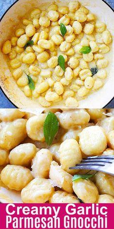Cremige Knoblauch-Parmesan-Gnocchi - Creamy Garlic Parmesan Gnocchi – easy skillet gnocchi in garlicky, cheesy and creamy sauce. Tortellini, Ravioli, Sauce Gnocchi, Best Sauce For Gnocchi, How To Cook Gnocchi, Pasta Recipes, Cooking Recipes, Healthy Gnocchi Recipes, Pasta Dishes