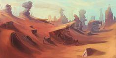 Abandoned Desert Mine Landscape by Appylon.deviantart.com on @deviantART