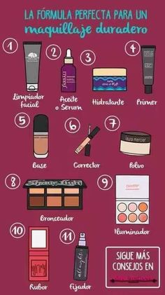 pasos para maquillarse steps to make up # Make up Makeup 101, Makeup Guide, Beauty Makeup Tips, Beauty Make Up, Skin Makeup, Makeup Inspo, Makeup Inspiration, Makeup Brushes, Beauty Hacks