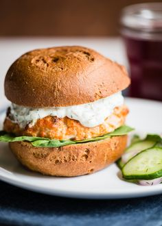 Salmon Burgers with Quick Pickled Cucumber Salad from @Lindsey Johnson // Cafe Johnsonia