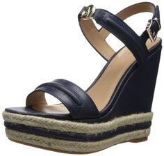 Armani Jeans Women's VW5546205 Wedge Sandal,Blue,41 EU/11 M US