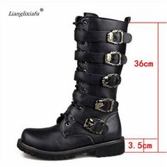 LLXF Eur:37-44 45 New 2017 Autumn/Winter Men's Knee-high Fashion Punk rock Boots Outdoor motorcycle Boats Riding Men denim shoes