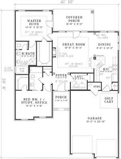2 Bedroom, 2 Bath Country House Plan Image