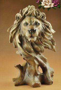 Resultado de imagen para cabeza de leon tallada en madera