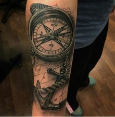 Amei Navy Tattoos, Forarm Tattoos, Anchor Tattoos, Body Art Tattoos, Nautical Tattoos, Clock Tattoo Design, Compass Tattoo Design, Tattoo Designs, Pirate Ship Tattoos