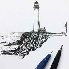 """49 Likes, 2 Comments - W.W. Pierce (@willustrating) on Instagram: """"A lighthouse somewhere in the USA.  #drawing #draw #lighthouse #illustrator #illustration #art…"""""""