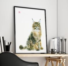 catart for catlovers / may coon  / digital print  from watercolor hands artwork  / 2017 / art by MariLova / https://www.facebook.com/MariLova