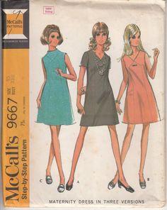 Vintage 60s Pattern Sewing MATERNITY DRESS by HoneymoonBus, $10.99