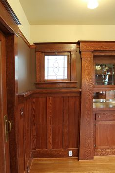 Dining Room Built-in China Cabinet - Leaded Glass Cabinet Doors Match Windows - Craftsman Restoration in Portland, Oregon by dawniecakes, via Flickr