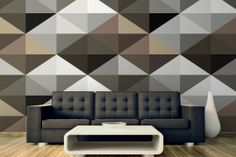 Cool Brown Geometric Pattern Mural