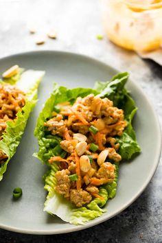 Thai Turkey Lettuce Wraps on plate Ground Turkey Meal Prep, Healthy Ground Turkey, Ground Turkey Recipes, Lettuce Wrap Recipes, Lunch Recipes, Healthy Recipes, Thai Lettuce Wraps, Thai Recipes, Dinner Recipes