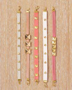 armbandjes in leuke kleuren met studs