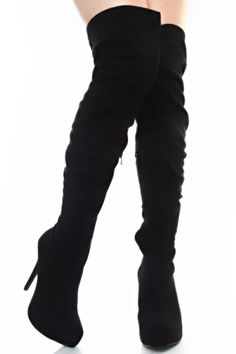 black suede over the knee high boots