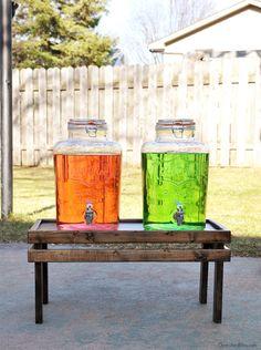 DIY Drink Dispenser Stand. Get the tutorial at cherishedbliss.com