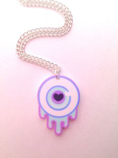 Pastel Blue Pink & Green Kawaii Eye Necklace by Clotique on Etsy, £4.50