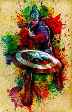 Captain America Poster Watercolor Avengers by DapperDragonArts – # 97 … - MARVEL Marvel Art, Marvel Dc Comics, Marvel Heroes, Marvel Characters, Marvel Captain America, Captain America Poster, Captain America Wallpaper, The Avengers, Nightwing