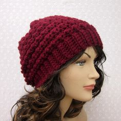 crochet womens hat free patterns | Wine Slouchy Crochet Hat - Womens Slouch Beanie - Burgundy Oversized ...