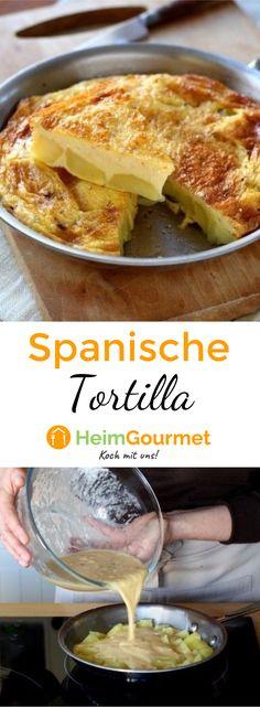 Dieses spanische Originalrezept für Tortilla mit Ei und Kartoffeln kann sowohl warm als auch kalt gegessen werden. So habt ihr ganz einfach die Spezialität aus der Tapasbar auf eurem Teller.