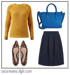 coco mama style | mustard yellow sweater | chunky bobble knit jumper | leopard heels | leopard courts pumps | full denim skirt | cobalt blue bag