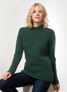 Made in Ireland, this sweater combines a luxurious wool-cashmere blend with an elegant trellis stitch design. The trellis stitch symbolizes the Irish landscape pattern. Irish Fashion, Irish Landscape, Woolen Mills, Polo Neck, Cashmere Wool, Stitch Design, Knitting Ideas, Cable Knit Sweaters, Trellis