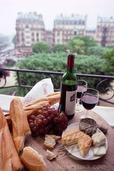 Wine and Cheese on a Paris balcony.