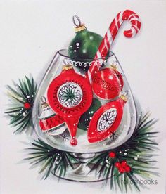 #812 50s Unused Mid Century Ornaments in a Wine Glass-Vtg Christmas Card