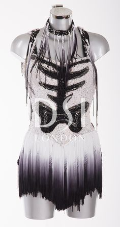 Black and White Latin Dress as worn by Ola Jordan on Strictly Come Dancing 2014. Designed by Vicky Gill and produced by DSI London