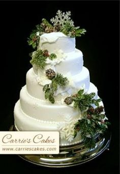 pine sprigs and pine cones cake